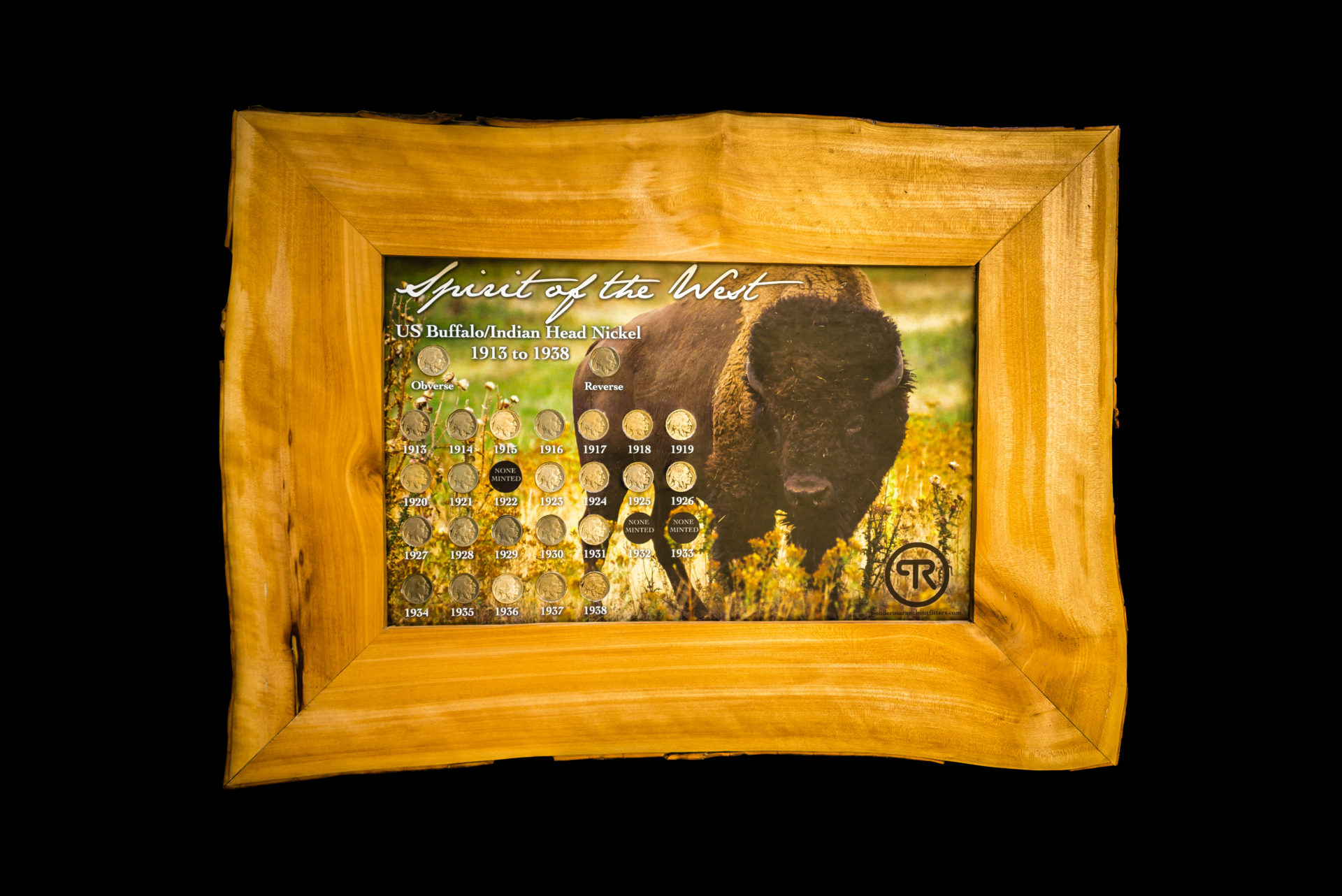 Full Buffalo Nickel Collection in a wooden madronne frame